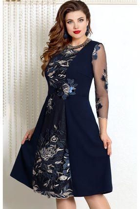 Купить Платье Vittoria Queen 7593 темно-синий, Вечерние платья, 7593, темно-синий, ПЭ 86%+Спандекс 14%, Мультисезон