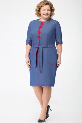 Купить Платье KetisBel 1394 синий с красным, Повседневные платья, 1394, синий с красным, 68% Вискоза, 30% ПЭ, 2% спандекс, Мультисезон