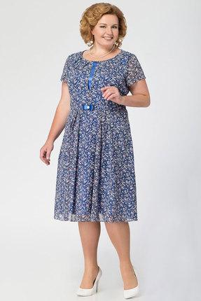 Купить Платье KetisBel 1415 синие тона, Повседневные платья, 1415, синие тона, 95% ПЭ, 5% спандекс, Мультисезон