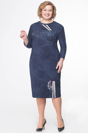 Купить Платье KetisBel 1390 синий, Повседневные платья, 1390, синий, 50% ПЭ, 40% вискоза, 10% эластан, Мультисезон