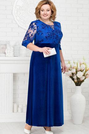 Купить Платье Ninele 7219 васильковый, Вечерние платья, 7219, васильковый, Бархат: полиэстер 95%, спандекс 5%. Кружево: полиэстер 100%. Подкладка: полиэфир 95%, спандекс 5%, Мультисезон