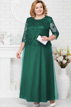 Купить Платье Ninele 7223 изумрудный, Вечерние платья, 7223, изумрудный, Аталас - полиэстер 95%, спандекс 5%, кружево - ПЭ-100%, фатин - полиэстер 95%, Мультисезон
