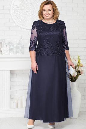 Купить Платье Ninele 7223 тёмно-синий, Вечерние платья, 7223, тёмно-синий, Аталас - полиэстер 95%, спандекс 5%, кружево - ПЭ-100%, фатин - полиэстер 95%, Мультисезон