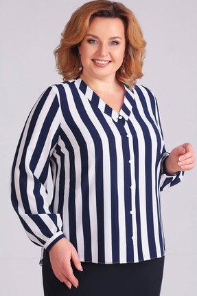 Купить Блузка Асолия 4042 белый+синий, Блузки, 4042, белый+синий, ПЭ - 96%, Спандекс - 4%, Мультисезон