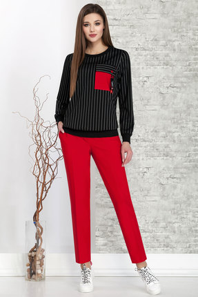 Комплект брючный Ivelta plus 2871 красный с черным