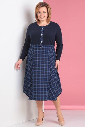 Купить Платье Новелла Шарм 2714-1 синие тона, Повседневные платья, 2714-1, синие тона, п/э 57%, вискоза 40%, спандекс 3%, Мультисезон