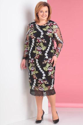 Купить Платье Новелла Шарм 3141-1 черный с цвеным, Вечерние платья, 3141-1, черный с цвеным, 100% п/э, Мультисезон