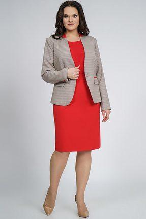 Купить Комплект юбочный Alani 856 красный с серым, Юбочные, 856, красный с серым, Жакет: ПЭ 63%+Вискоза 34%+Эластан 3% Блуза: шифон-стрейч ПЭ 100% Юбка: Фиона ПЭ 95%+Спандекс 5%, Мультисезон