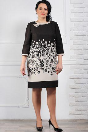 Купить Платье Мадам Рита 1036 темно-коричневый с бежевым, Повседневные платья, 1036, темно-коричневый с бежевым, ПЭ 75%+Вискоза 20%+Эластан 5%, Мультисезон