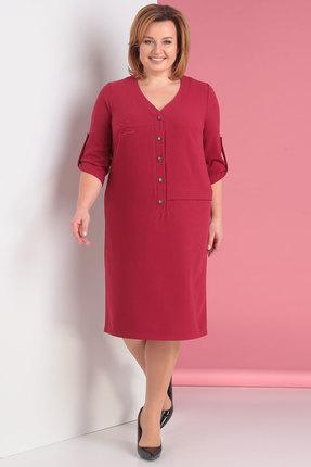 Купить Платье Новелла Шарм 3202 красный, Повседневные платья, 3202, красный, плательная ткань с люрексной ниткой (п/э 82%, вискоза 14%, спандекс 4%), Мультисезон