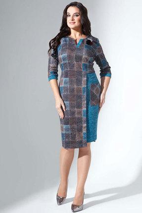 Купить Платье Erika Style 731 бирюза с коричневым, Повседневные платья, 731, бирюза с коричневым, вискоза 72%, ПЭ 25%, спандекс 3%, Мультисезон