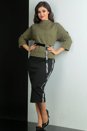 Купить Комплект юбочный Мода-Юрс 2440 хаки, Юбочные, 2440, хаки, Блузон: ПЭ 78%, хлопок 20%, эластан 2%. Юбка: ПЭ 80%, вискоза 15%, спандекс 5%., Мультисезон