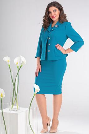 Купить Комплект плательный Мода-Юрс 2370 бирюзовый, Плательные, 2370, бирюзовый, Жакет, платье: полиэстер 65%, вискоза 30%, спандекс 5%., Мультисезон