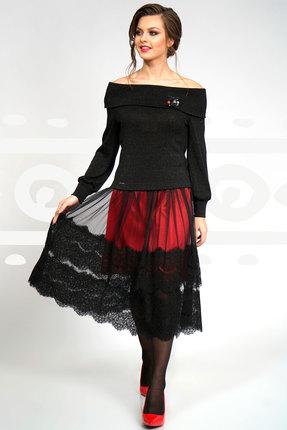 Купить Комплект юбочный Olegran о-535 черный с красным, Юбочные, о-535, черный с красным, Джемпер: ПЭ – 72%, вискоза – 28%. Юбка: ПЭ – 94%, спандекс – 6%., Мультисезон