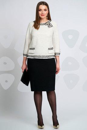 Купить Комплект юбочный Olegran д-545 белый с черным, Юбочные, д-545, белый с черным, Жакет: ПЭ – 72%, вискоза – 28%. Юбка: ПЭ – 61%, вискоза – 36%; спандекс – 3%, Мультисезон