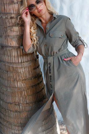 Купить Платье Vesnaletto 1984-1 серо-зеленые тона, Повседневные платья, 1984-1, серо-зеленые тона, ПЭ 70%+Вискоза 30%, Мультисезон