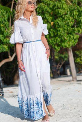 Купить Платье Vesnaletto 1995-2 белый с голубым, Повседневные платья, 1995-2, белый с голубым, Хлопок 100% Подкладка: Хлопок 100%, Лето