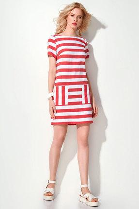 Купить Платье Prio 184280 красная полоска , Повседневные платья, 184280, красная полоска , Хлопок 65%; вискоза 35%, Лето