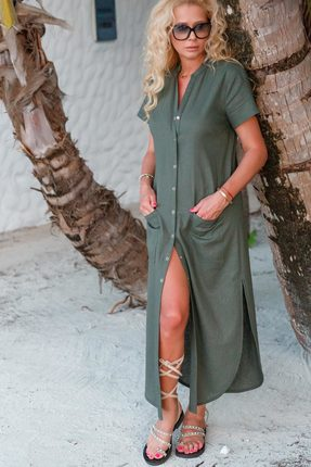 Купить Платье Vesnaletto 1996 серо-зеленые тона, Повседневные платья, 1996, серо-зеленые тона, Лен 100%, Лето