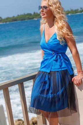 Купить Комплект юбочный Vesnaletto 1998-1 голубой, Юбочные, 1998-1, голубой, Топ: ПЭ 97%+Спандекс 3% Юбка: ПЭ 100%, Лето