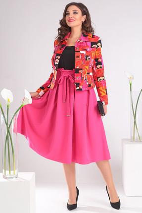 Купить Комплект юбочный Мода-Юрс 2400 розовый, Юбочные, 2400, розовый, Куртка: вискоза 39%, хлопок 56%, эластан 5%. Юбка: хлопок 63%, полиамид 33%, спандекс 4%., Мультисезон