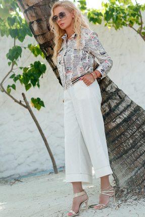 Купить Комплект брючный Vesnaletto 2017 белый, Брючные, 2017, белый, Куртка: Хлопок 65%+ПЭ 30%+Спандекс 5% Брюки: Лен 100%, Лето