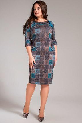 Купить Платье Erika Style 706 бирюзовые тона, Повседневные платья, 706, бирюзовые тона, вискоза 72%, ПЭ 25%, спандекс 3%, Мультисезон