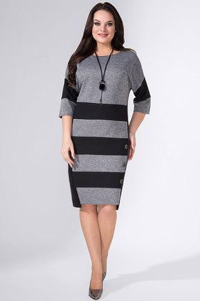 Купить Платье Erika Style 690-11 серый, Повседневные платья, 690-11, серый, вискоза 72%, ПЭ 25%, спандекс 3%, Мультисезон