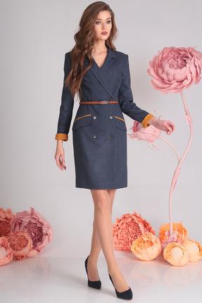 Купить Платье SandyNa 13537-2 синий, Повседневные платья, 13537-2, синий, 71% полиэстер, 23% вискоза, 6% спандекс Наименование материала подкладки: 100% полиэстер, Мультисезон