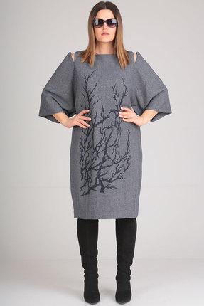 Купить Платье Viola Style 0828 серый, Повседневные платья, 0828, серый, Вискоза 71%, ПЭ 23%, спандекс 6%, Мультисезон