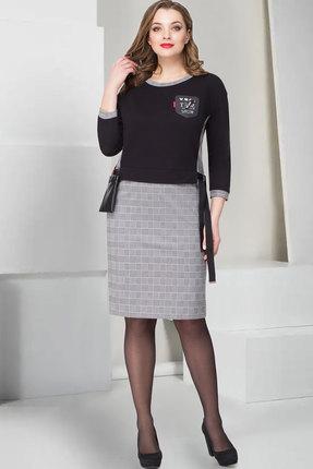 Купить Платье ТАиЕР 758 чёрный+серый, Повседневные платья, 758, чёрный+серый, Хлопок 65%, Полиэстер 25%, Лайкра 10%, Мультисезон