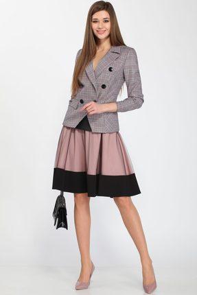 Купить Комплект юбочный Lady Secret 1584 серый с черно-розовым, Юбочные, 1584, серый с черно-розовым, Жакет: ПЭ 65%, вискоза 32%, эластан 3% Юбка: ПЭ 49 %, вискоза 48%, спандекс 3%, Мультисезон