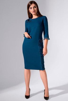 Купить Платье Erika Style 721 морская волна , Вечерние платья, 721, морская волна , вискоза 72%, ПЭ 25%, спандекс 3%, Мультисезон