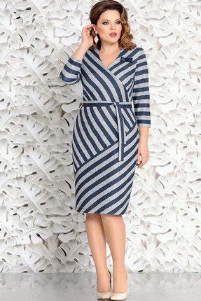 Купить Платье Mira Fashion 4552 синий+серый, Повседневные платья, 4552, синий+серый, ПЭ - 32%; Спандекс - 3%; Вискоза - 65%, Мультисезон