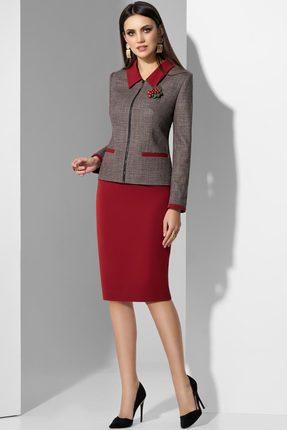 Комплект юбочный Lissana 3589 серый с бордо