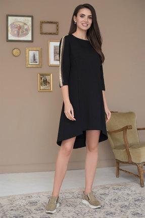 Купить Платье ЮРС 19-983-1 черный, Повседневные платья, 19-983-1, черный, вискоза – 67%, нейлон – 29%, спандекс – 4% Тип ткани: костюмно-плательная (трикотажное полотно), Мультисезон
