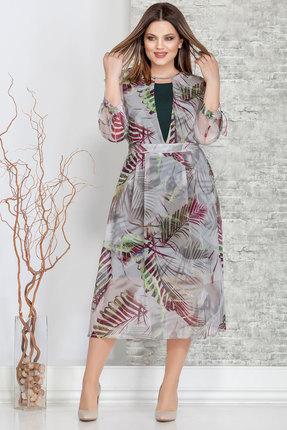 Купить Комплект плательный Ivelta plus 1603 листья с зеленым, Плательные, 1603, листья с зеленым, Верхнее платье - 100% п/э Нижнее платье - 100% вискоза, Мультисезон