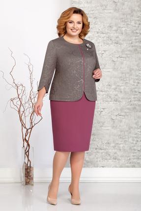 Купить Комплект юбочный Ivelta plus 2463 серо-розовые тона, Юбочные, 2463, серо-розовые тона, Жакет -100% п/э Юбка - 96% п/э, 4% спандекс, Мультисезон