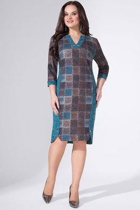 Купить Платье Erika Style 738 бирюза с коричневым, Повседневные платья, 738, бирюза с коричневым, вискоза 72%, ПЭ 25%, спандекс 3%, Мультисезон