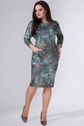 Купить Платье Erika Style 705-2 оливковые тона, Повседневные платья, 705-2, оливковые тона, вискоза 72%, ПЭ 25%, спандекс 3%, Мультисезон