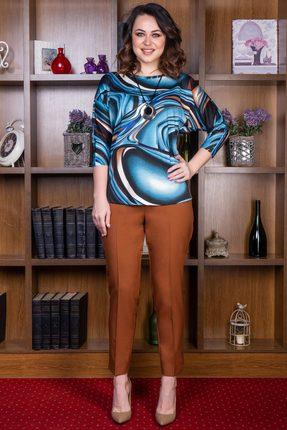 Купить Комплект брючный Deesses D-016.8 голубой с коричневым, Брючные, D-016.8, голубой с коричневым, Джемпер: ПЭ 37%+Вискоза 60%+Спандекс 3% Брюки: Вискоза 40%+ПЭ 57%+Спандекс 3%, Мультисезон