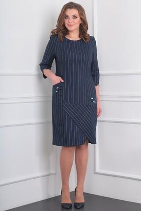 Купить Платье Milana 959 темно-синий, Повседневные платья, 959, темно-синий, Текстильная со стрейчем, полоска морекс . Состав: ПЭ-32%, вискоза-63%, спандекс-3%, металик-2%, Мультисезон