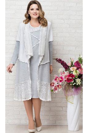 Комплект плательный Aira Style 649 серый с белым