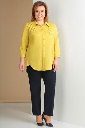 Купить Комплект брючный Ксения Стиль 1621 желтый с синим, Брючные, 1621, желтый с синим, Брюки: п/э 71%, вискоза 23%, спандекс 6% (текстиль) Блузка: вискоза 54%, нейлон 46%, Мультисезон