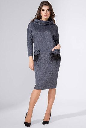 Купить Платье Erika Style 567-2 серо-синие тона, Повседневные платья, 567-2, серо-синие тона, вискоза 72%, ПЭ 25%, спандекс 3%, Мультисезон