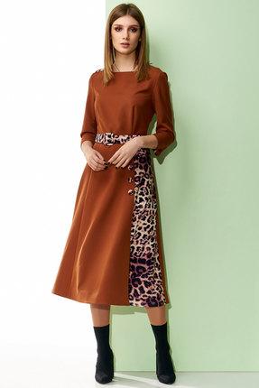 Купить Платье Denissa Fashion 1211 терракот, Повседневные платья, 1211, терракот, 71% ПЭ, 6% спандекс, 23% вискоза, Мультисезон