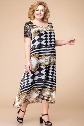 Платье Romanovich style 1-1600 черно-белый с золотым