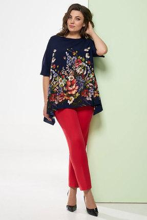 Купить Комплект брючный Denissa Fashion 1248 синий с красным, Брючные, 1248, синий с красным, Состав блузки: 100% ПЭ Состав брюк: 97% ПЭ, 3% спандекс, Лето
