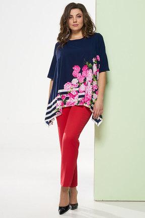 Купить Комплект брючный Denissa Fashion 1248n синий с красным, Брючные, 1248n, синий с красным, Состав блузки: 100% ПЭ Состав брюк: 97% ПЭ, 3% спандекс, Лето