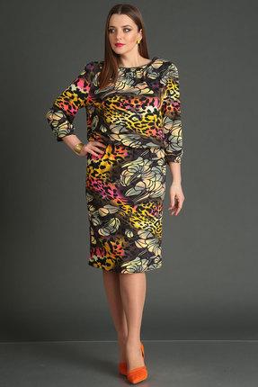 Купить Платье Viola Style 832 мультиколор, Повседневные платья, 832, мультиколор, Вискоза 71%, ПЭ 23%, спандекс 6%, Мультисезон